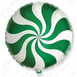 Фольгированный круг - леденец, зеленый. 46 см.