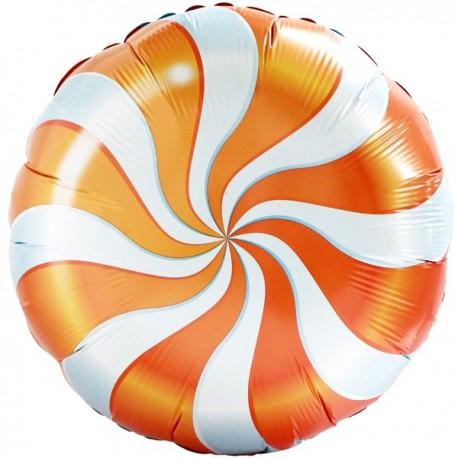 Фольгированный круг - леденец, оранжевый. 46 см.