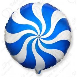 Фольгированный круг - леденец, синий. 46 см.