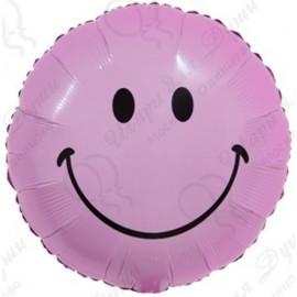 Фольгированный круг - Смайл, розовый. 46 см.