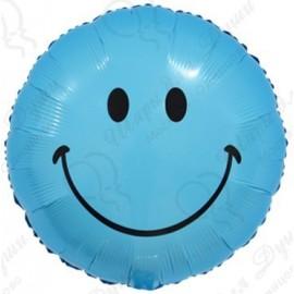 Фольгированный круг - Смайл, синий. 46 см.