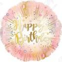 Фольгированный круг - С Днем рождения салют, розовый, 46 см.