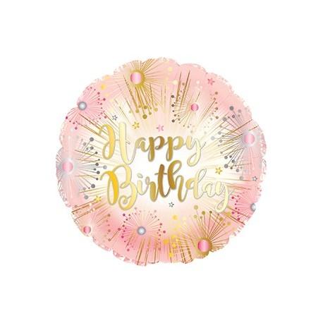 Фольгированный круг - С Днем рождения салют, розовый. 46 см.