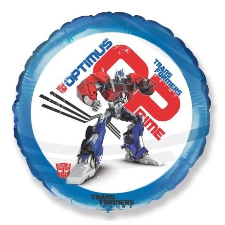 Фольгированный круг - Трансформеры Оптимус Прайм, синий. 46 см.