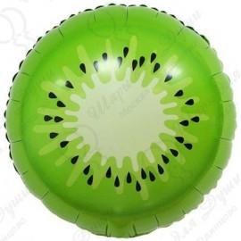 Фольгированный круг - Киви, зеленый, 46 см.