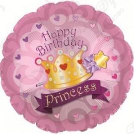 Фольгированный круг - С Днем рождения корона принцессы, розовый. 86 см.