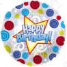 Фольгированный круг -  С Днем Рождения (завитки). 46 см.