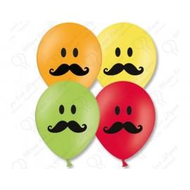 Воздушный шар 38 см смайл усы, ассорти, пастель.