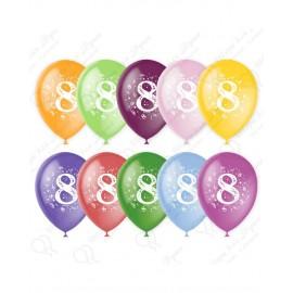 Воздушный шар 30 см цифра восемь, ассорти, пастель.