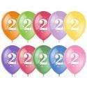 Воздушный шар 30 см цифра два, ассорти, пастель.