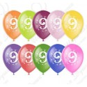 Воздушный шар 30 см цифра девять, ассорти, пастель.