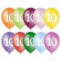 Воздушный шар 30 см цифра десять, ассорти, пастель.
