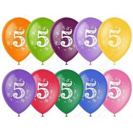Воздушный шар 30 см цифра пять, ассорти, пастель.