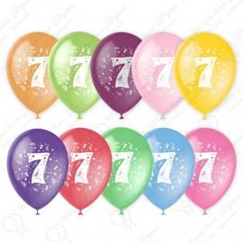 Воздушный шар 30 см цифра семь, ассорти, пастель.