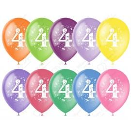 Воздушный шар 30 см цифра четыре, ассорти. пастель.