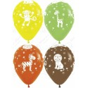 Воздушный шар 30 см  Животные джунглей, ассорти, пастель
