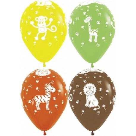 Воздушный шар - Животные джунглей, ассорти, пастель, 30 см.