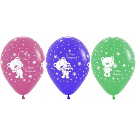 Воздушный шар - Мишки , ассорти, пастель, 30 см.