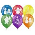 Воздушный шар 30 см Новый год (дед мороз, елочка, снеговик), ассорти, пастель.