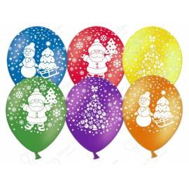 Воздушный шар - Новый год (дед мороз, елочка, снеговик), ассорти, пастель., 30 см.
