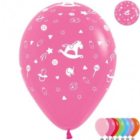 Воздушный шар - Новорожденный, ассорти, пастель., 30 см.