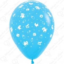 Воздушный шар 30 см С рождением мальчика!, светло-голубой, пастель.