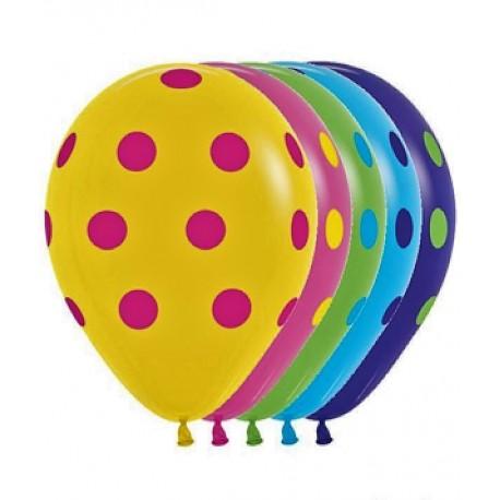 Воздушный шар - яркий горошек, ассорти, 30 см.