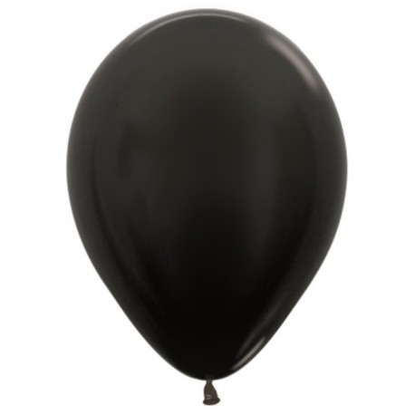 Воздушный шар, черный, металлик для запуска в небо, 30 см.