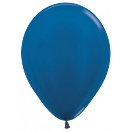 Воздушный шар синий, металлик для запуска в небо, 30 см.