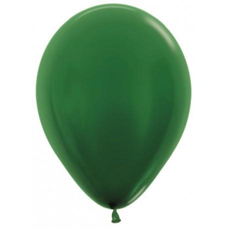 Воздушный шар темно-зеленый, металлик для запуска в небо, 30 см.