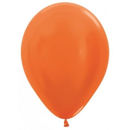 Воздушный шар оранжевый металлик для запуска в небо, 30 см