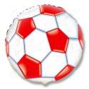 Фольгированный круг - мяч футбольный, красный. 46 см.