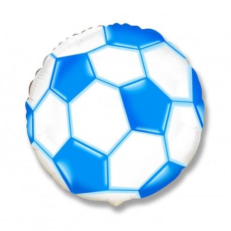 Фольгированный круг - мяч футбольный, синий. 46 см.