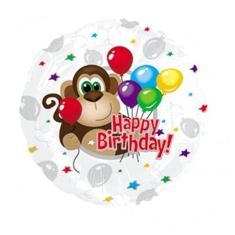 Фольгированный круг - С Днем Рождения, обезьянка. 46 см.