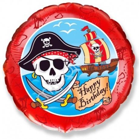 Фольгированный круг - С Днем Рождения, пираты. 46 см.