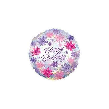 Фольгированный круг - С Днем Рождения, цветы. 46 см.