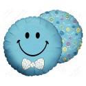 Фольгированный круг - смайл, голубой с бабочкой. 46 см.