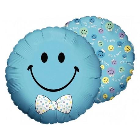 Фольгированный круг - смайл, голубой с бабочкой, 46 см.