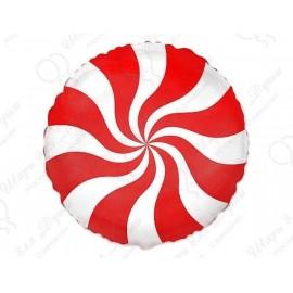 Фольгированный круг - леденец, красный. 46 см.