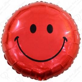 Фольгированный круг - Смайл, красный. 46 см.
