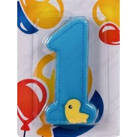 Свеча для торта, цифра 1, голубая с уточкой.