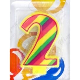 Свеча для торта, цифра 2, красочная.