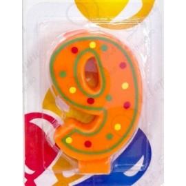 Свеча для торта, цифра 9, красочная.