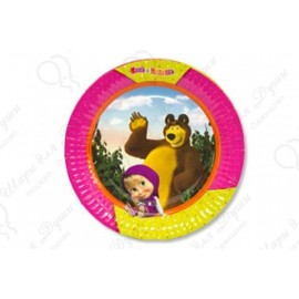 Набор одноразовых тарелок - Маша и Медведь.