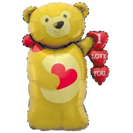 Фигурный шар - Мишка с сердцем. 91 см.