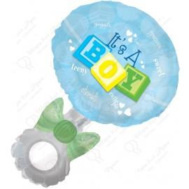 Фигурный шар - Погремушка девочка, голубой.