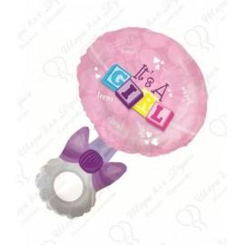 Фигурный шар - Погремушка девочка, розовый.