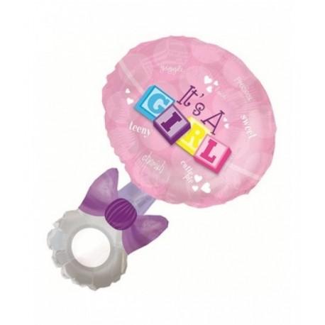 Фигурный шар - Погремушка девочка, розовый. 94 см.