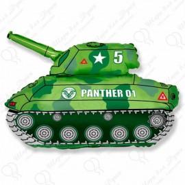 Фигурный шар - танк  зеленый.