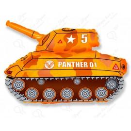 Фольгированный шар - танк,  желтый.